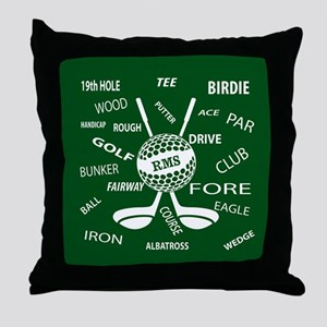 Personalized Monogram Golf Gifts Throw Pillow