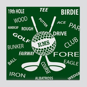 Personalized Monogram Golf Gifts Tile Coaster