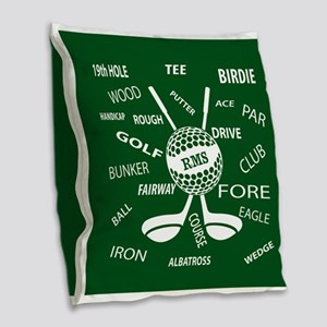 Personalized Monogram Golf Gifts Burlap Throw Pill