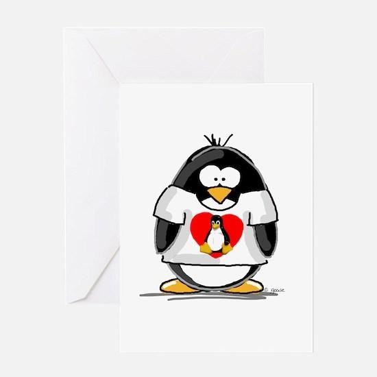 Heart tux Penguin Greeting Card