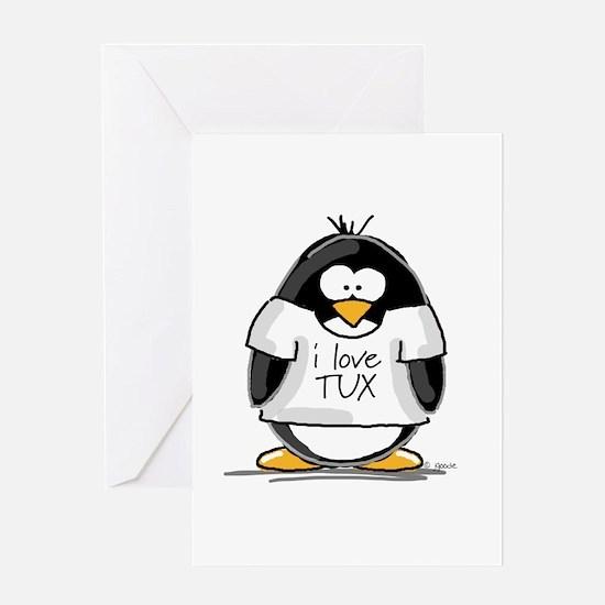 Love Tux Penguin Greeting Card