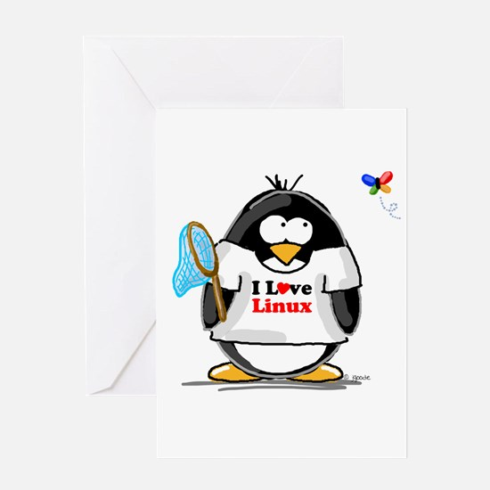 linux Penguin Greeting Card