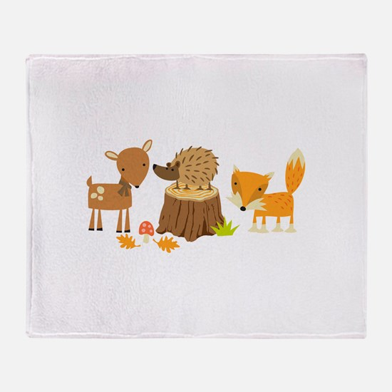 Woodland Animals Throw Blanket
