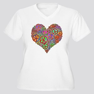 Peace Sign Heart Women's Plus Size V-Neck T-Shirt