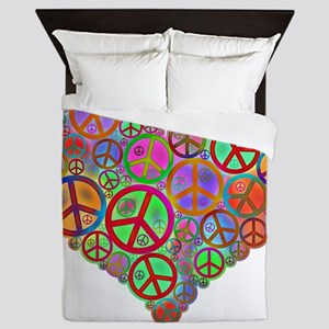 Peace Sign Heart Queen Duvet