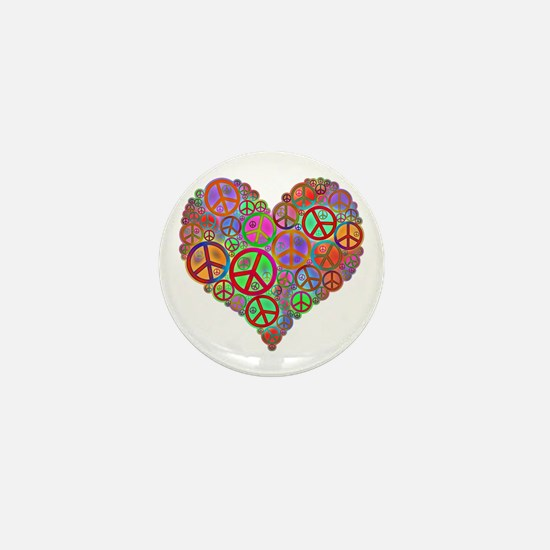 Peace Sign Heart Mini Button