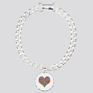 Peace Sign Heart Charm Bracelet, One Charm