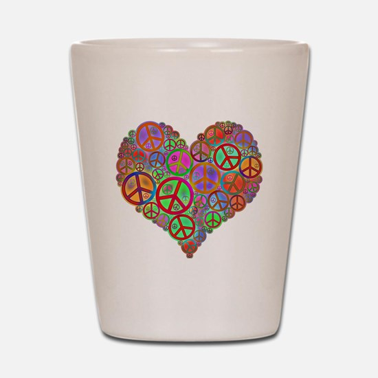 Peace Sign Heart Shot Glass