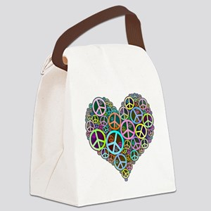 Peace Sign Heart Canvas Lunch Bag
