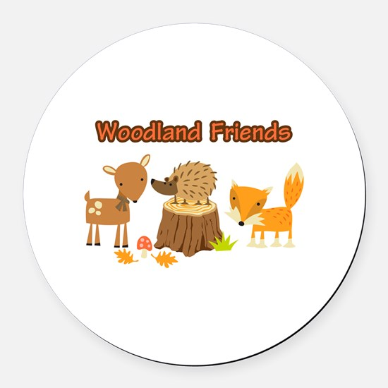 Woodland Friends Round Car Magnet