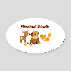 Woodland Friends Oval Car Magnet