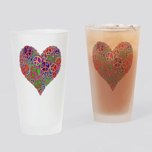 Peace Sign Heart Drinking Glass