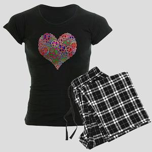 Peace Sign Heart Women's Dark Pajamas