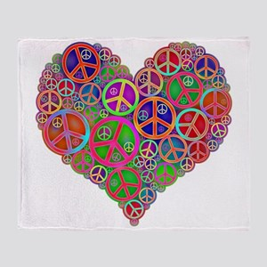 Peace Sign Heart Throw Blanket