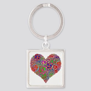 Peace Sign Heart Square Keychain