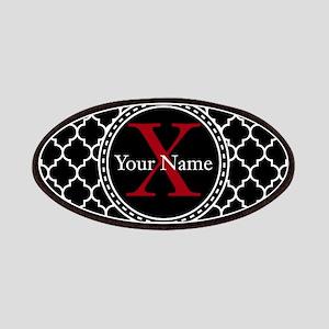 Custom Name And Initial Black Quatrefoil Patch