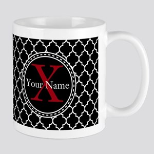 Custom Name And Initial Black Quatrefoil Mugs