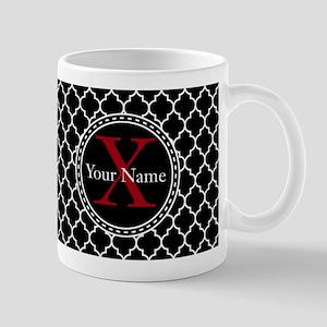 Custom Name And Initial Black Quatrefoil Mugs