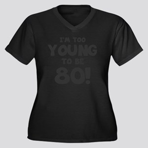 80th Birthda Women's Plus Size V-Neck Dark T-Shirt