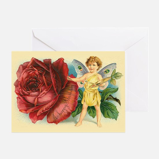 Victorian Fairy and Rose Birthday Greeting Card
