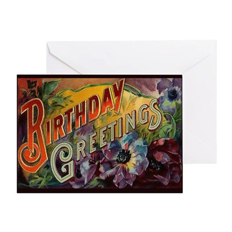 Victorian Pansy Birthday Greeting Card