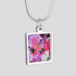 Sweet peas color stained glass pattern s Necklaces