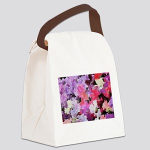 Sweet peas color stained glass pa Canvas Lunch Bag