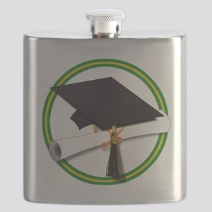 Graduation Cap with Diploma,Green and Gold Flask