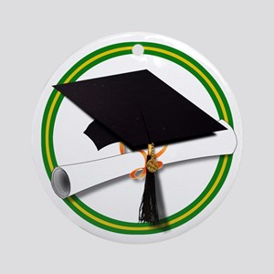 Graduation Cap with Diploma,Green Ornament (Round)
