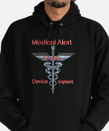 Medical Alert Device Implant NO MRI Hoodie (dark)