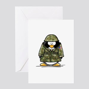 US Soldier Penguin Greeting Card
