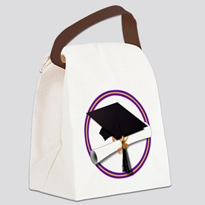 Graduation Cap with Diploma,Purpl Canvas Lunch Bag