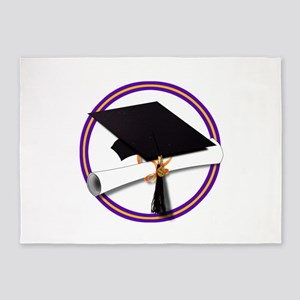 Graduation Cap with Diploma,Purple 5'x7'Area Rug