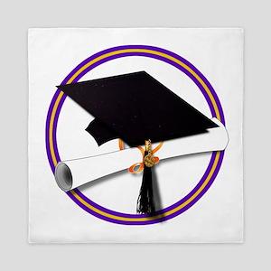 Graduation Cap with Diploma,Purple And Queen Duvet