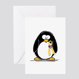Support Troops Penguin Greeting Card