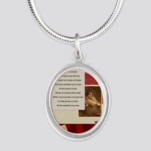 American Commandments Silver Oval Necklace