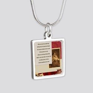 American Commandments Silver Square Necklace