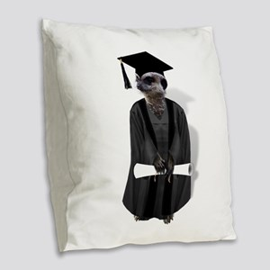 MEERKAT GRADUATE Burlap Throw Pillow