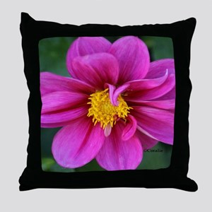 dahlia flower bloom Throw Pillow