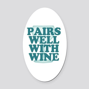 Funny Wine Drinking Humor Oval Car Magnet