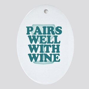 Funny Wine Drinking Humor Oval Ornament