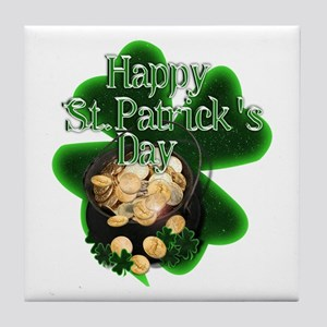 St Patrick's Day Pot of Gold Tile Coaster