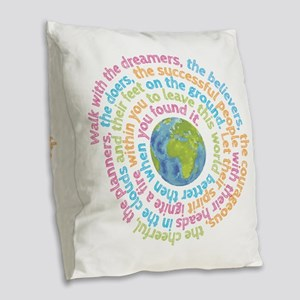 Walk with the dreamers Burlap Throw Pillow