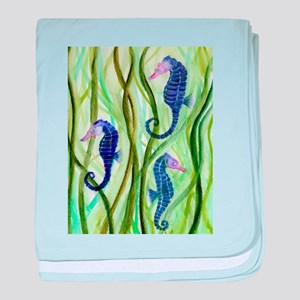 Seahorse fish intense and watercolour baby blanket