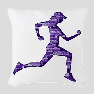 Run Hard Woven Throw Pillow