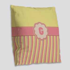 Stripes2015G1 Burlap Throw Pillow