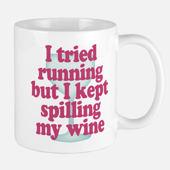 Wine vs Running Lazy Humor Mugs