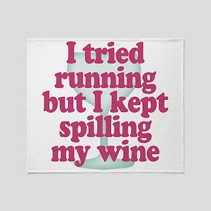 Wine vs Running Lazy Humor Throw Blanket