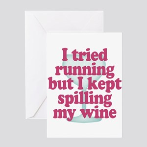 Wine vs Running Lazy Humor Greeting Cards