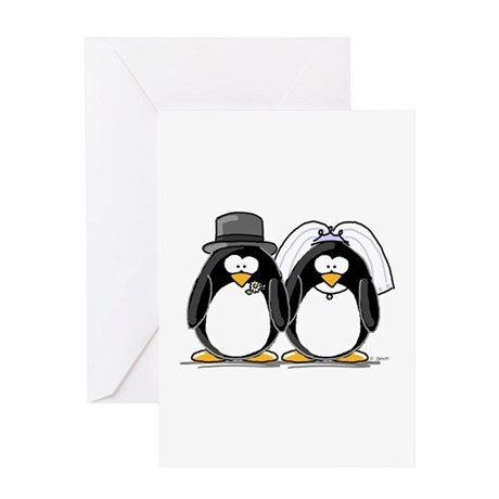 Bride and Groom Penguins Greeting Card